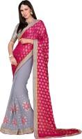Khoobee Self Design, Embroidered, Embellished Fashion Chiffon Saree(Pink, Grey)