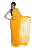 Aaradhya Fashion Printed Leheria Handloom Georgette Saree(Yellow)