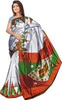 Roopkala Silks Printed Pochampally Handloom Pure Silk Saree(Grey, Brown)