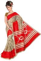 Jiya Self Design, Printed Fashion Poly Silk Saree(Multicolor, Red)