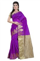 Vastrakala Solid Banarasi Cotton, Silk Saree(Pink)
