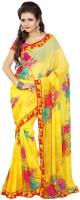 Patankar Fab Printed Bollywood Synthetic Chiffon Saree(Yellow, Pink)