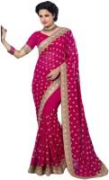 M.S.Retail Embroidered Fashion Handloom Chiffon Saree(Pink)