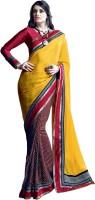 Valeska Printed Fashion Satin Blend Saree(Yellow)