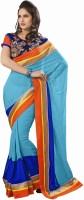 Khushali Self Design, Embroidered Fashion Georgette Saree(Blue, Light Blue, Orange)