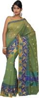 Pavechas Printed Kota Doria Cotton, Net Saree(Green)