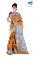 Tantuja Woven Tangail Silk Saree(Yellow)