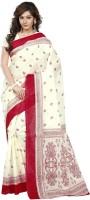 Minu Suits Printed Fashion Cotton Saree(White)