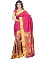 Sonal Trendz Self Design Kanjivaram Art Silk Saree(Pink)