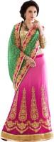 Aasvaa Self Design Lehenga Saree Georgette Saree(Green)