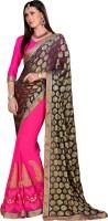 Khoobee Self Design, Embroidered, Embellished Fashion Chiffon Saree(Blue, Pink)