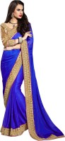 Khoobee Self Design, Embellished Fashion Satin, Chiffon Saree(Blue)