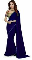 Stylish Sarees Solid Daily Wear Chiffon Saree(Dark Blue)