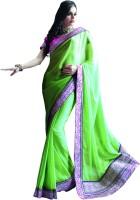 Valeska Solid Fashion Chiffon Saree(Green)