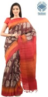 Tantuja Self Design Murshidabad Handloom Silk Saree(Red, Brown)