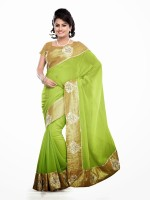 Dancing Girl Solid Bollywood Georgette Saree(Green)