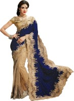 Aksh Fashion Embroidered Fashion Net Saree(Beige, Dark Blue)