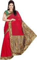 De Marca Embroidered Fashion Chiffon Saree(Red)