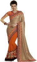 Indian Women By Bahubali Self Design Fashion Georgette Saree(Gold, Orange)
