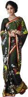 Jiya Self Design, Printed Fashion Satin Blend, Chiffon Saree(Multicolor, Dark Green)