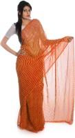 Aaradhya Fashion Printed Leheria Handloom Georgette Saree(Red)
