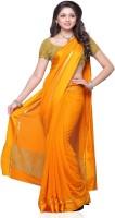 Meghdoot Embroidered Fashion Handloom Chiffon Saree(Yellow)