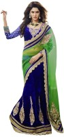 Triveni Self Design Lehenga Saree Net Saree(Blue, Green)