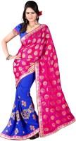 Jiya Self Design, Embroidered Fashion Poly Georgette Saree(Blue, Pink)