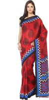 Fostelo Self Design Daily Wear Cotton Saree(Red)