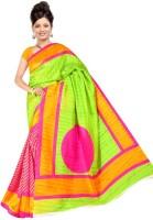 Jiya Self Design, Printed Fashion Poly Silk Saree(Multicolor, Pink, Light Green)