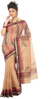 Mrsaree Self Design Tant Handloom Cotton Saree(Brown)