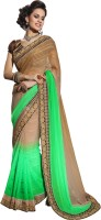 Khoobee Self Design, Embellished Fashion Satin, Jacquard Saree(Light Green, Beige)