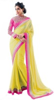 SumanFashion Self Design Fashion Handloom Georgette Saree(Yellow)