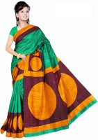 Jiya Self Design, Printed Fashion Poly Silk Saree(Green, Maroon, Orange)