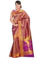 Varkala Silk Sarees Woven Kanjivaram Silk Saree(Pink)