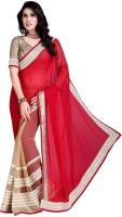 Khoobee Self Design, Embroidered Fashion Cotton Blend, Chiffon Saree(Red, Beige)