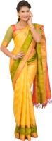 Thara Sarees Self Design Kanjivaram Pure Silk Saree(Yellow, Multicolor)