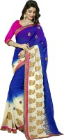 Khoobee Self Design, Embroidered, Embellished Fashion Poly Georgette Saree(White, Blue)
