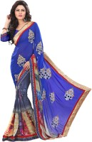 Sonal Trendz Embroidered Fashion Synthetic Georgette Saree(Blue)
