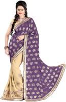Khushali Self Design, Embroidered, Embellished Fashion Georgette Saree(Beige)