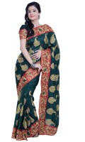 Ambition Embellished Fashion Silk Saree(Dark Green)