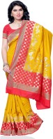 Meghdoot Woven Mysore Pure Silk, Art Silk Saree(Red, Mustard)