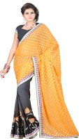 Indi Wardrobe Embroidered Bollywood Handloom Jacquard Saree(Yellow)