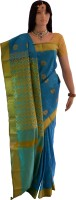 Lakshmi Lifestyle Self Design Kanjivaram Handloom Silk Saree(Blue)