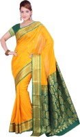 Ishin Printed Fashion Silk Saree(Yellow)