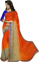 Jiya Self Design, Embroidered Fashion Poly Georgette Saree(Orange, Grey)