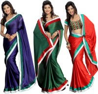 Silkbazar Self Design Fashion Synthetic Chiffon Saree(Pack of 3, Multicolor)