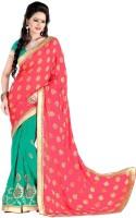 Khushali Self Design, Embroidered, Embellished Fashion Georgette Saree(Light Green)