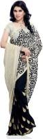 Meghdoot Embroidered Bollywood Handloom Chiffon Saree(White, Black)
