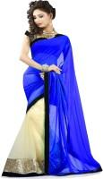 Winza Embroidered, Embellished, Solid Fashion Chiffon, Net Saree(Blue, Beige)